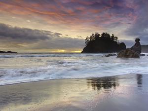 Waves Crashing over Grandmother Rock at Sunset on Trinidad Beach Near Eureka, Northern California by Patrick Smith