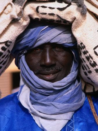 Close Up of a Tuareg Carpet Seller in Traditional Indigo Clothing, Timbuktu, Mali