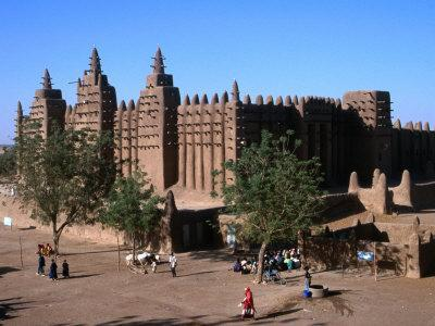 Oblique View of the Facade, Entrance, Wall and Square of the Djenne Mosque, Djenne, Mali