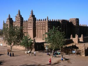 Oblique View of the Facade, Entrance, Wall and Square of the Djenne Mosque, Djenne, Mali by Patrick Syder