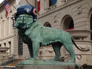 Chicago Bears Helmet On Lion by Patrick Warneka