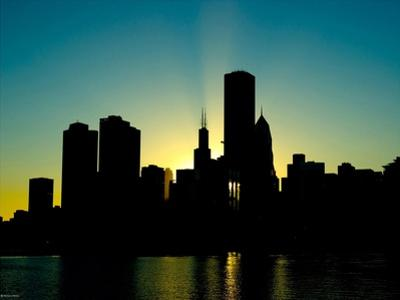Chicago Skyline Silhouette From Navy Pier