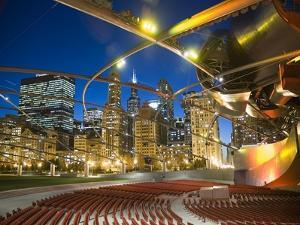 Millennium Park  Outdoor Theater At Night by Patrick Warneka