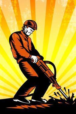Construction Worker Jackhammer Retro Poster by patrimonio