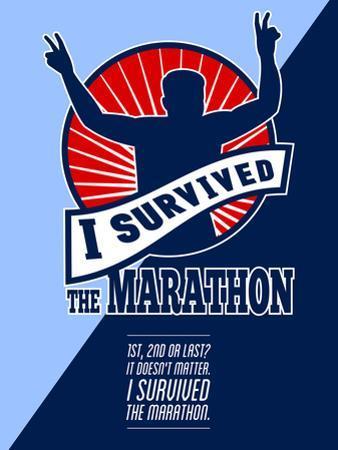 Marathon Runner Survived Poster Retro by patrimonio designs
