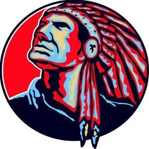 Native American Indian Chief Retro by patrimonio