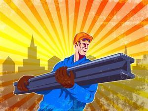 Steel Worker Carry I-Beam Retro Poster by patrimonio