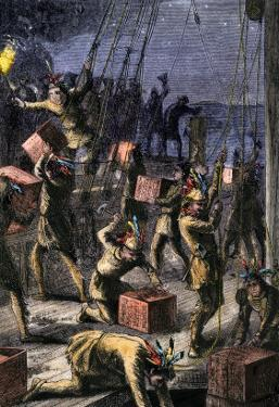 Patriots Dressed as Indians Destroying Tea in Boston Harbor, Called the Boston Tea Party, c.1773