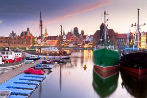Harbor at Motlawa River with Old Town of Gdansk in Poland by Patryk Kosmider