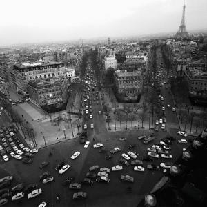 View from the Arc de Triomphe to the Place de l'Etoile, 1960s by Paul Almasy