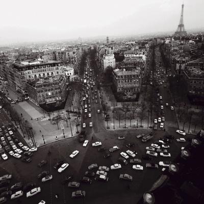 View from the Arc de Triomphe to the Place de l'Etoile, 1960s