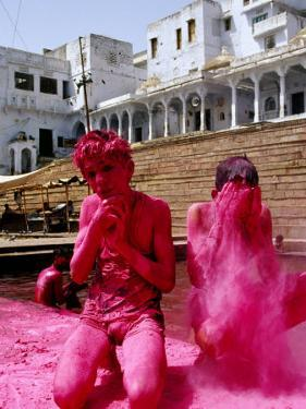 Boys Purify Themselves with Pink Powder During Holi Festival, Pushkar, India by Paul Beinssen