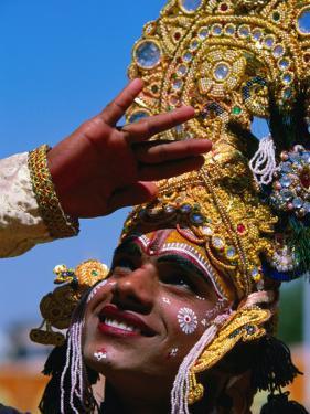 Performer Plays Krishna at Holi Festivities, Jaipur, India by Paul Beinssen