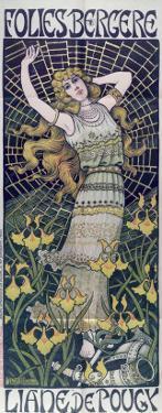 Poster Advertising Liane de Pougy at the Folies-Bergere, Paris, End of 19th Century by Paul Berthon