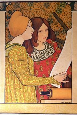 Two Girls with a Printing Press by Paul Berthon