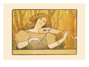 Woman Plays the Violin by Paul Berthon