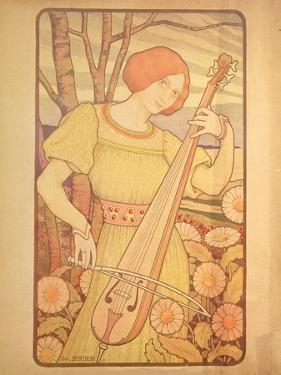 Young Woman with a Lute by Paul Berthon
