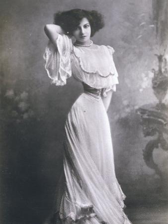 Polaire French Music Hall Entertainer in an Elegant White Dress by Paul Boyer