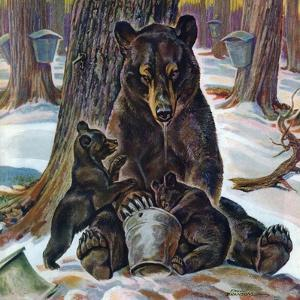"""Bears Eating Maple Syrup,"" March 28, 1942 by Paul Bransom"