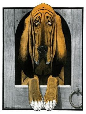 Bloodhound in Doghouse by Paul Bransom
