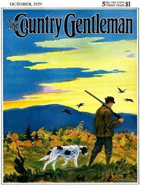 """Duck Hunter and Dog,"" Country Gentleman Cover, October 1, 1929 by Paul Bransom"