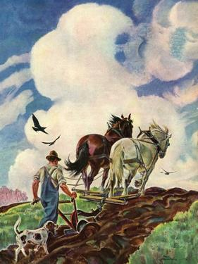 """Horse-Drawn Plow,""March 1, 1939 by Paul Bransom"