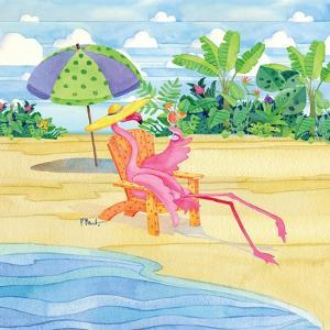 Beach Chair Flamingo by Paul Brent