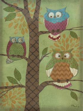 Fantasy Owls Vertical I by Paul Brent