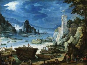 Puerto Con Castillo, Ca. 1601 by Paul Bril