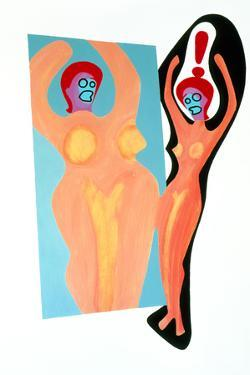 Artwork of An Anorexic Woman Looking In a Mirror by Paul Brown