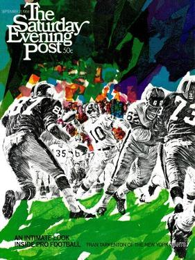 """Inside Pro Football,"" Saturday Evening Post Cover, September 21, 1968 by Paul Calle"