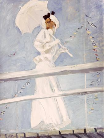 Young Woman with a Parasol on a Jetty