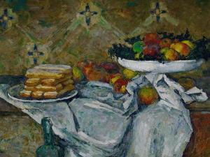 Fruit Bowl and Plate with Biscuits, circa 1877 by Paul Cézanne
