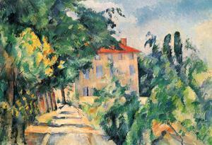 Paul Cezanne (House with red roof) Art Poster Print