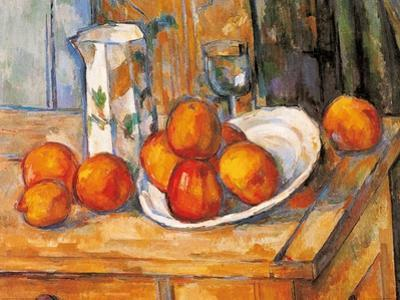 Kettle Glass and Plate with Fruit by Paul Cézanne