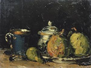 Nature morte : sucrier, poires et tasse bleue by Paul Cézanne