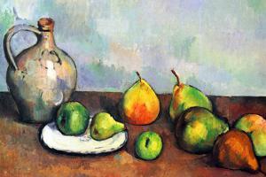 Paul Cezanne Still Life Jar and Fruit Plastic Sign by Paul Cézanne