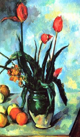 Paul Cezanne (Still Life, Vase with tulips) Art Poster Print