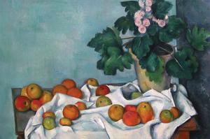 Still Life with Apples and a Pot of Primroses by Paul Cézanne