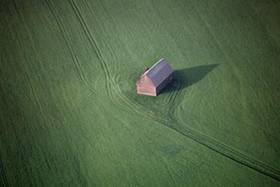 Aerial View of a Barn in the Middle of a Lush Green Field by Paul Chesley