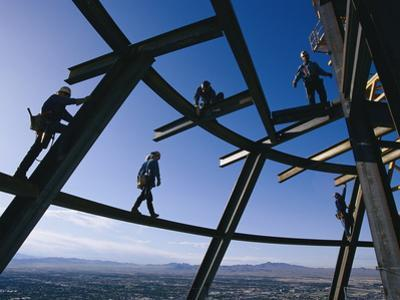 Construction Workers on Beams at the Top of the Stratosphere Tower by Paul Chesley