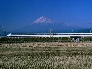View of One of Japans Bullet Trains Speeding Through the Countryside by Paul Chesley