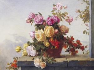 A Still Life of Roses by Paul Claude Jance