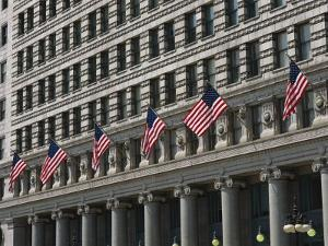 American Flags Decorate the Front of a Michigan Avenue Building by Paul Damien