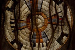 Close Up of a Plains Indian's Artwork of Woven Concentric Circles and Bison Hair by Paul Damien