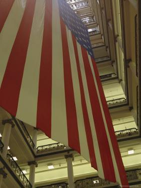 Enormous American Flag Hanging in Marshall Fields Department Store by Paul Damien