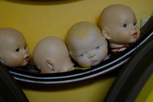 Four Doll's Heads in a Row in an Antique Shop by Paul Damien