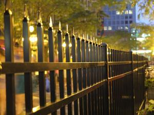 Light Reflects Off a Metal Fence at Night in Downtown Saint Paul, Minnesota by Paul Damien