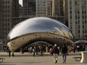 Reflections in Cloud Gate, a Sculpture Also Known as the Bean by Paul Damien