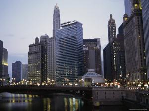 The Chicago River and Buildings From the State Street Bridge at Dusk by Paul Damien
